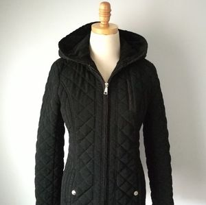 Laundry quilted black jacket hooded pockets